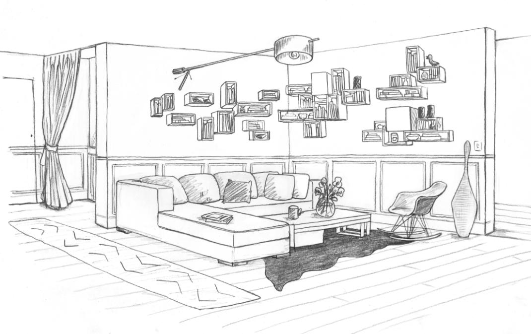 1 chambre b b dans un salon laetitia desmond for Salle a manger dessin anime