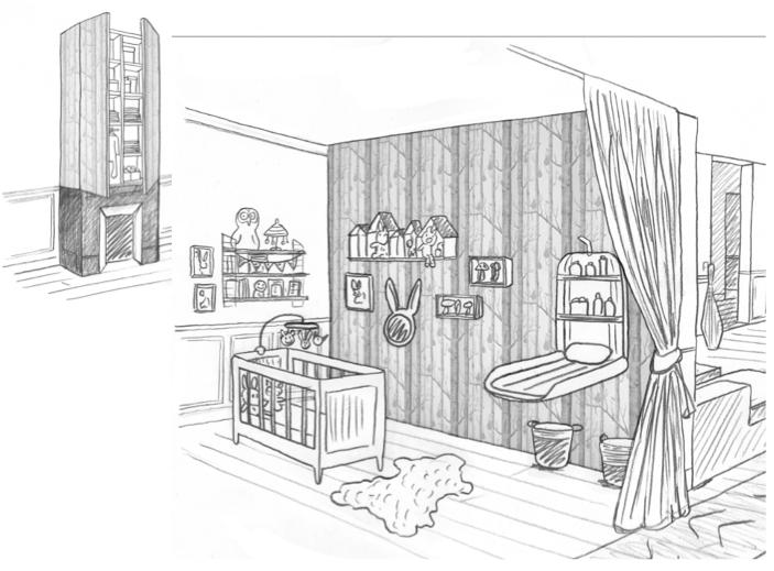1 chambre b b dans un salon laetitia desmond for Plan architecte chambre hotel