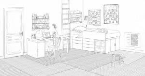 dessins planche dintentions chambre b - Dessin De Chambre