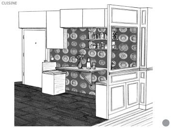 Dessin cuisine mur 2