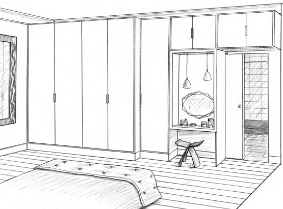 Dessin chambre parents dressing