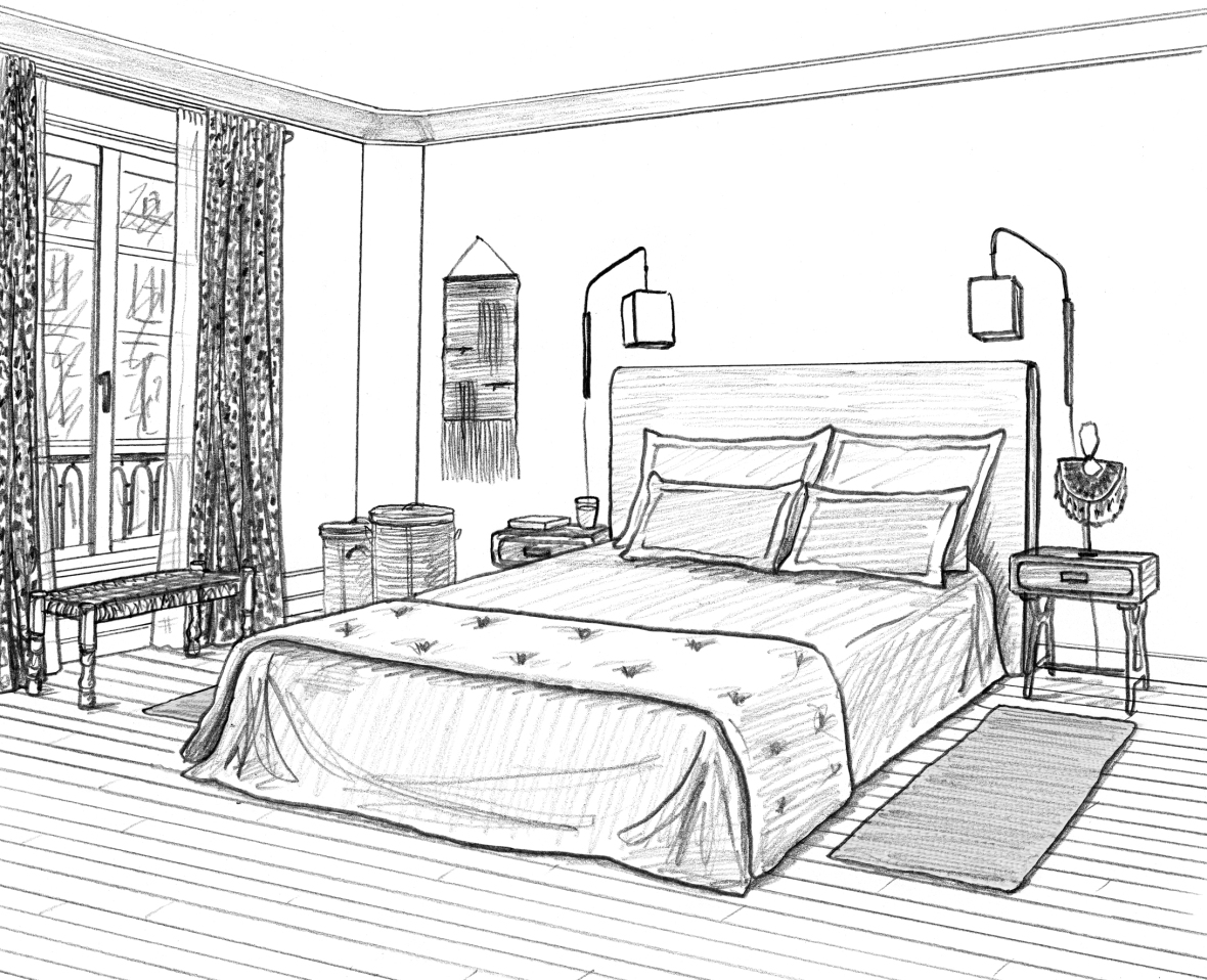Emejing dessin de chambre images for Chambre en 3d