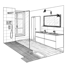 Dessin 1 salle de bain parents